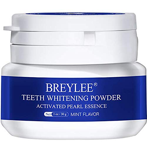 Teeth Whitening Powder,Pearl Essence Teeth Brightening Powder,BREYLEE Natural Teeth Whitener Removing Stain Caused by Coffee Wine Smoking Without Causing Damages,Keeping Oral Fresh(1.05 oz)