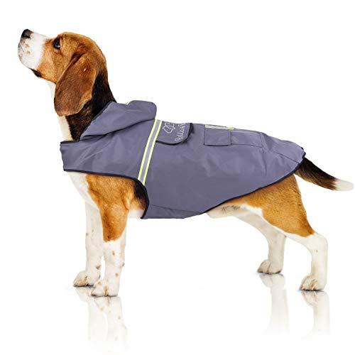 Bella & Balu Imperméable pour chien - Veste de pluie avec capuchon et réflecteurs pour les promenades en toute sécurité et au sec pour votre chien (M | Gris)