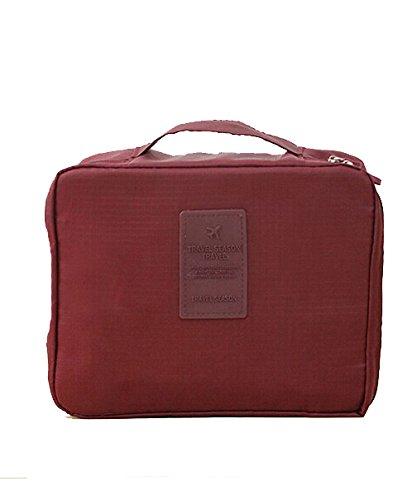 DAYAN Sac de Voyage Trousse de toilette Effacer / Portable Nylon imperméable bagages Voyage,Vin rouge