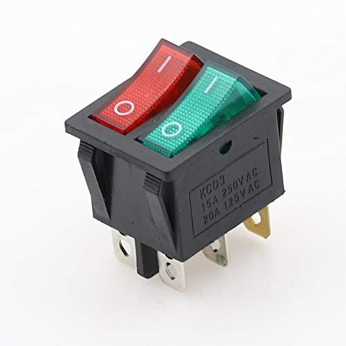 XIAOYUW 1pc Barco Doble Interruptor basculante DPST 6 Pin On-Off luz roja con Verde + 20A 125VAC Interruptor Enclavamiento w Tapa Resistente al Agua (Color : Green Red)