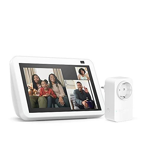 Nuevo Echo Show 8 (2.ª generación, modelo de 2021), Blanco + Amazon Smart Plug (enchufe inteligente WiFi), compatible con Alexa