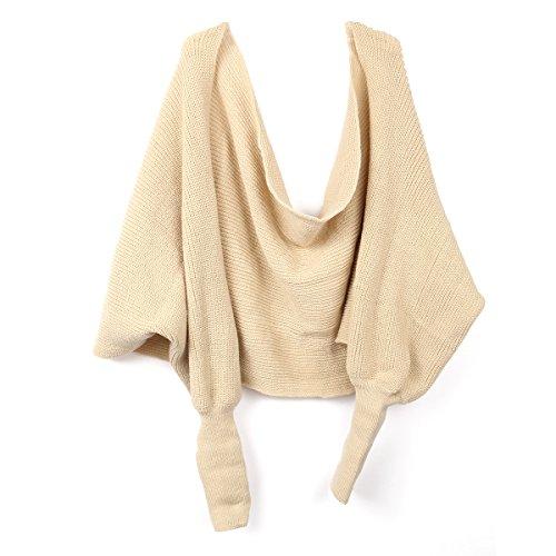 BESTOYARD Winter Warm Gestrickte Schal mit Ärmeln, Mode Poncho Schal mit Ärmel für Damen (Beige)