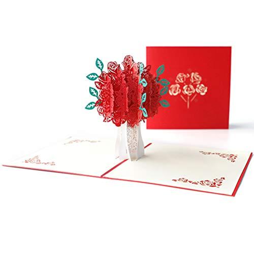 ENJOYPRO Rose Bouquet Pop Up Card, Valentines day card, Mothers day card, 3D Rose Bouquet Card, Rose Flower Greeting Card With Envelope For Valentine's day, Mother's day (3D Rose Bouquet, Pack of 1) Photo #4