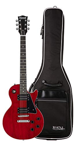 Shaman Element Series SCX-100R Gigbag Set - Hochwertige E-Gitarre im Single Cut Style mit 2 Humbucker & Flat Top - inkl. Gigbag - Cherry Red