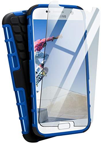 moex Panzerhülle kompatibel mit Samsung Galaxy S7 - Handyhülle mit Panzerglas, extrem stoßfest, Panzer Outdoor Hülle 360 Grad, Blau Schwarz