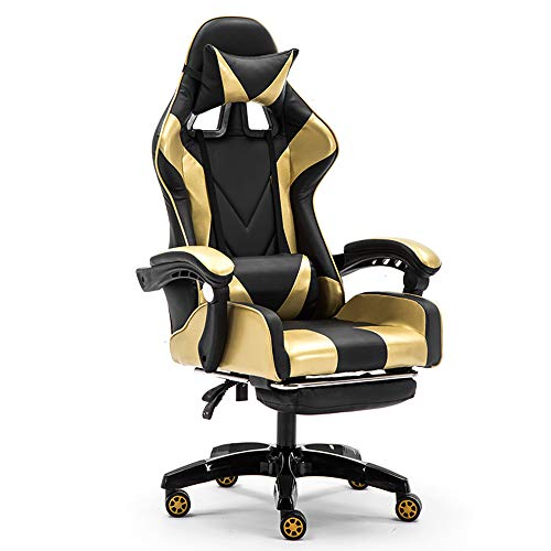 YUYAOBING Professionelle Computer-Gaming Chair DNF LOL Internet Cafés Sports Racing Sessel Stuhl WCG Spielen Gaming Lounge Chair Bürostuhl,Style 1,with footrest