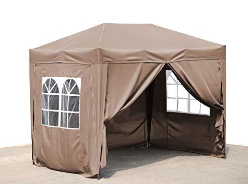 QUICK STAR Pop-Up-Pavillon 2 x 3 m Beige mit 4 Easy-Klett Seitenwänden 2 mit Reißverschlüssen