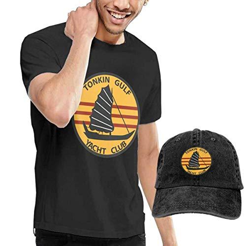 sunminey Herren Kurzarmshirt Tonkin Gulf Yacht Club Washed Baseball-Cap + T-Shirt Combo Set