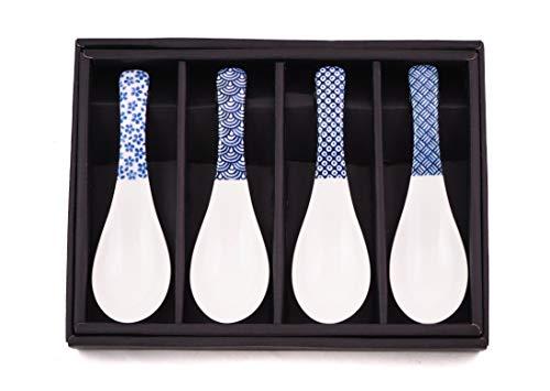 Löffel RENGE 4er Set Porzellan hergestellt in Japan Porzellanlöffel Weiß Blau