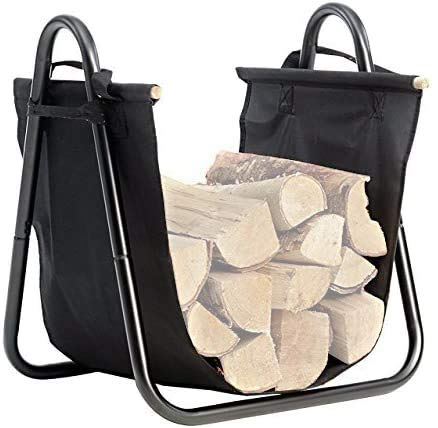 Amagabeli Fireplace Log Holder with Canvas Firewood Rack Indoor Tote Carrier Metal Wood Rack Black Firewood Holders Storage Heavy Duty Logs Stacker Basket with Handles Kindling Large Stove Accessories