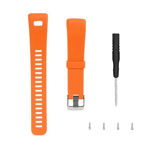 WEINISITE Bracelets pour Garmin Vivosmart HR+,Souple Silicone Remplacement Bracelets pour Garmin Vivosmart HR Plus Trackers d'activité (Orange)