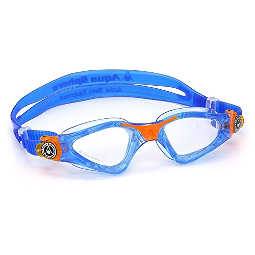 Aqua Sphere Kayenne Junior Swim Goggles with Clear Lens (Blue/Orange). Swimming Goggles for Kids.
