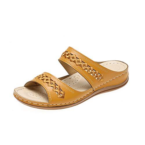 HUAJIE Sandalias De Verano para Mujer Planos Sandalias De Dedo Cuero Verano Punta Abierta Vacaciones Zapatos Elegante Cómodo Flop Zapatillas De Playa Interior Y Exterior,Amarillo,36