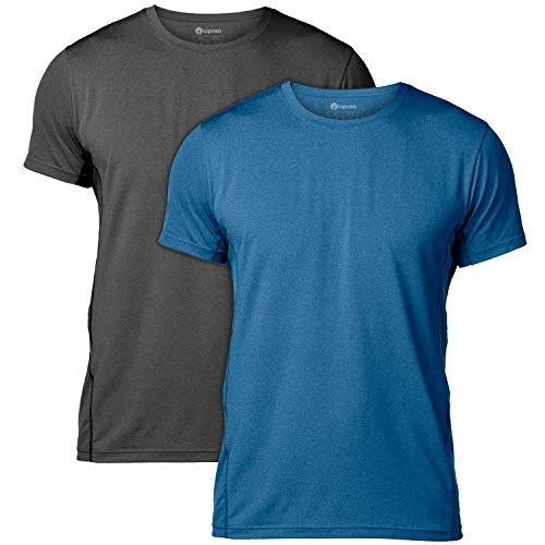 LAPASA T-Shirt Uomo Magliette Sportive Performance Cupro – Tecnologia ANTIODORE- T-Shirt Allenamento Sport Running Palestra M15 (L, 2 Pack(Nero+Blu))