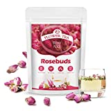 M inch Rose Buds Flower Tea - 100% Organic Natural Edible Dried Rose Buds Flowers for Cakes Decorating, Beauty & Promote Metabolism - 1.7oz