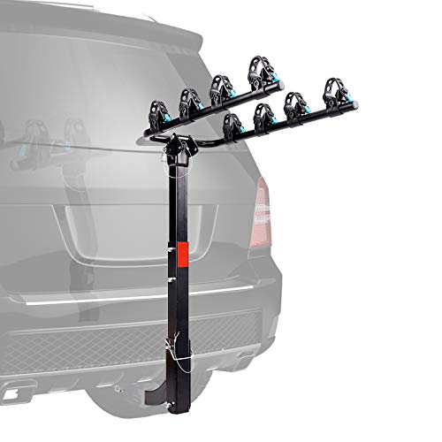 XCAR 4Bike Bicycle Carrier Racks Hitch Mount Double Foldable Rack for Cars Trucks SUV#039s and minivans Fit for 2 Inch Hitch Receiver