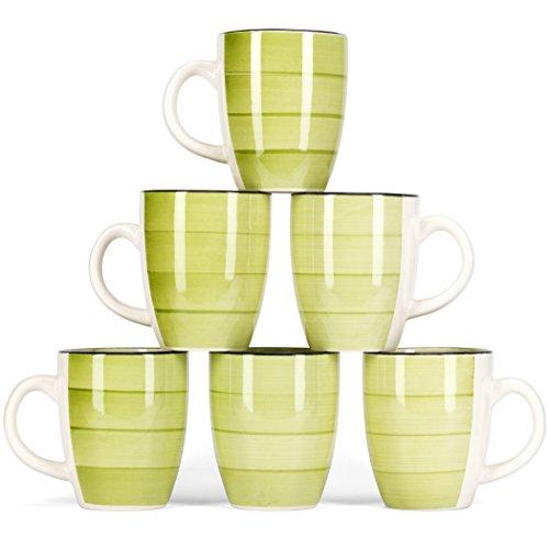 LVKH Grün Kaffeebecher Kaffeetassen - Keramic Stoneware (375 ml, 6er-Set)