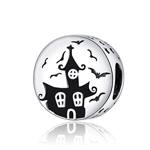 Silver Bead Charms,Fit Pan Bracelet Silver 925 Bat Ghost Skull Beads Halloween Haunted House Pumpkin Charms For Woman Jewelry Making-Halloween 3