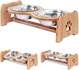 """X-ZONE PET Raised Pet Bowls for Cats and Dogs, Adjustable Bamboo Elevated Dog Cat Food and Water Bowls Stand Feeder with 2 Stainless Steel Bowls and Anti Slip Feet (Height 5.1"""")"""