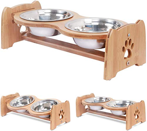 X-ZONE PET Raised Pet Bowls for Cats and Dogs, Adjustable Bamboo Elevated Dog Cat Food and Water...