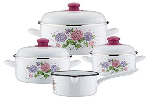 GSW Hortensie - Batería de cocina (7 piezas), Acero esmaltado, plástico, Blanco