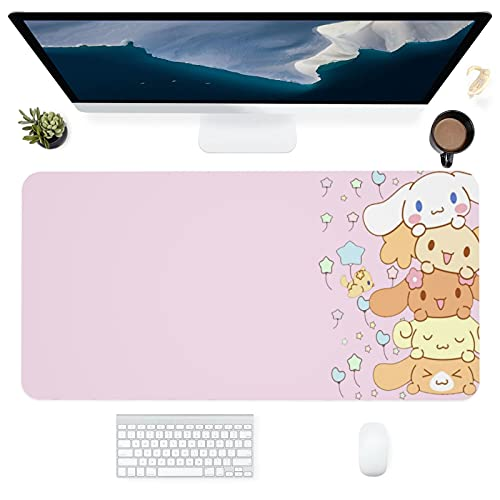 Kawaii Large Leather Pink Mouse Pads with Design Novelty Anime Keyboard Pad Non-slip Extended Full Desk Keyboard Mat Waterproof Xxl Gaming Mousepad for Girl Gift Notebook Office Pad Computer 15.7x31.5