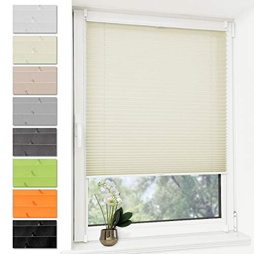 Plissee Rollo Jalousie ohne Bohren Klemmfix für Fenster & Tür Beige 60 x 200 cm (Breite x Höhe), Plisseerollo Stoff Sonnenschutz leicht zu montieren & Verspannt