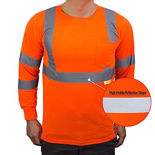 NY Hi-Viz Workwear L9091 Class 3 High Vis Reflective Long Sleeve ANSI Safety Shirt (Large, Orange)