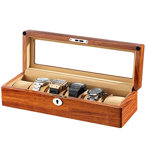 Storage Drawer for Watches and Jewelry Watch Box Elm Wood Pure Solid Wood Watches Box 6 Slots With Glass Top Mechanical Watch Display Collection Storage Box Jewelry Organizers Watch Organizer Luxury S