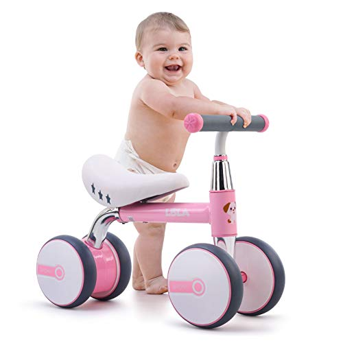 Bicicleta de Equilibrio para niños de 1 a 3 años, 4 Ruedas Bicicleta de Entrenamiento para bebés sin Pedal, Regalos de cumpleaños para niños y niñas (Rosado)