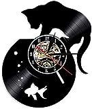 Reloj de Pared de Vinilo, Reloj de Registro, Reloj de Vinilo de 12 Pulgadas, Reloj de Acuario y Gato, Reloj Retro Creativo para decoración del hogar