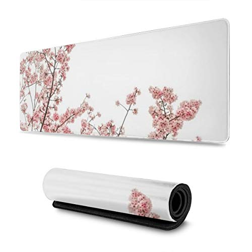 Vintage Cherry Blossoms Design Pattern XXL XL Large Gaming Mouse Pad Mat Long Extended Mousepad Desk Pad Non-Slip Rubber Mice Pads Stitched Edges (31.5x11.8x0.12 Inch)