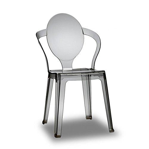 Lot de 4silla Design ahumado translúcido policarbonato–spoon-lot de 4silla Design ahumado translúcido policarbonato–Spoon