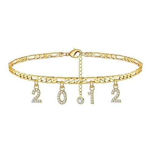 SJHFG Pulsera con números de año digital, pulsera con colgante de número, para mujer, color dorado (2012)