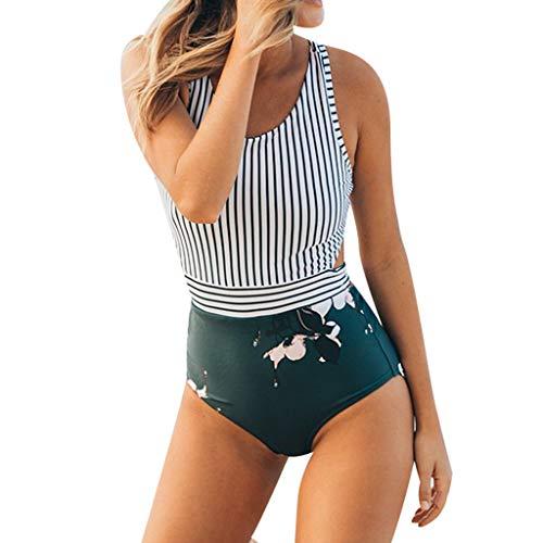 Bfmyxgs Sommermode Sexy Damenmode Plus Size Streifen Blatt Reißverschluss Verband Bikini Stilvolle Jumpsuit Badeanzug Beachwear Sexy Badeanzug Bade Bikini Tankini Sets Charming Bademode Beachwear