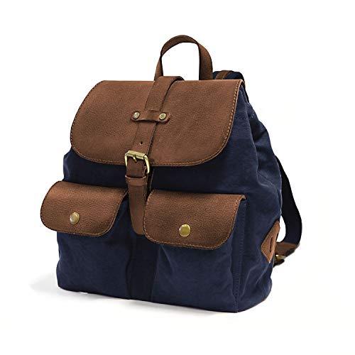 DRAKENSBERG Damen-Rucksack für jeden Tag, als Handtaschen-Ersatz, klein und robust, Kimberley-Debonair-Backpack, 12 L, Canvas und Echt-Büffel-Leder, Marine-blau, braun, DR00153