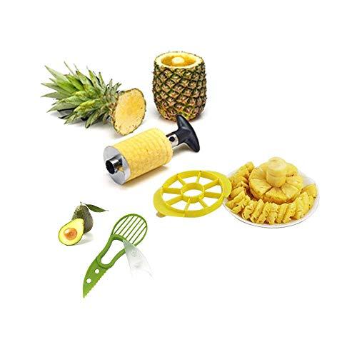 Couteau D'ananas, Éplucheur Ananas, Tranche D'ananas, Éplucheur en Acier Inoxydable Vide-Pomme et Coupe Avocat Éplucheur