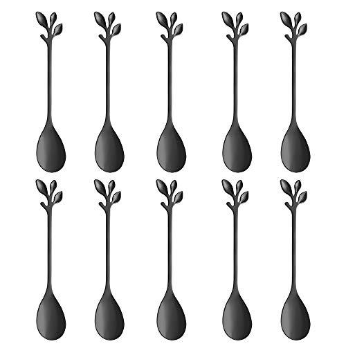Stainless Steel Black Leaf Coffee Spoon-AnSaw 10 Pcs Creative Tableware Dessert Spoons, Stirring, Mixing, Sugar, Stir, Ice Cream, Cake, Teaspoon Set (Black-10Spoon)