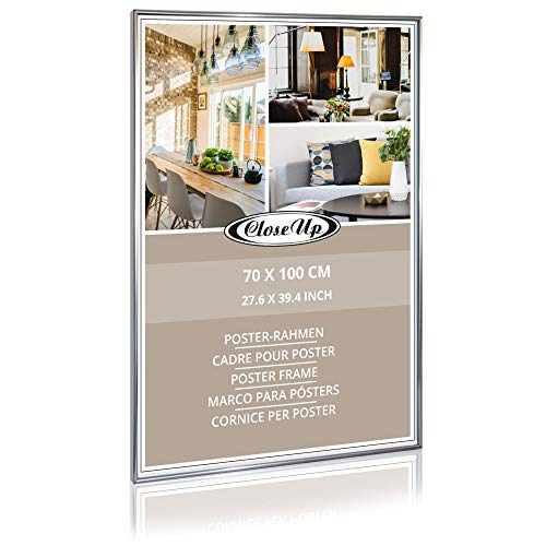 Close Up Posterrahmen, Bilderrahmen 70 x 100 cm, Silber/Silver - Maxi Poster Wechselrahmen mit bruchsicherem Acrylglas