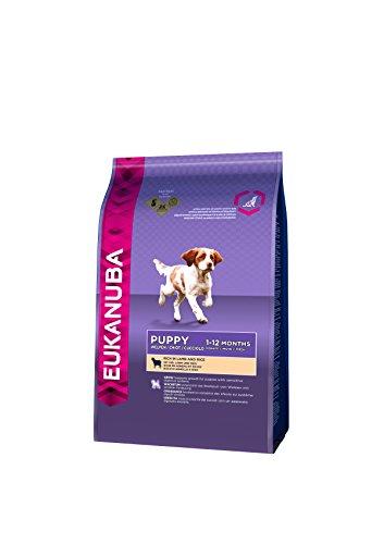 Eukanuba hondenvoer voor puppy's van kleine en middelgrote rassen – droogvoer met lam & rijst, verschillende maten, 2,5 kg, kan variëren