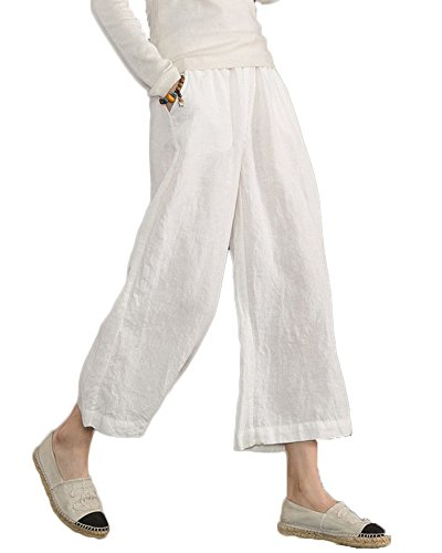 Minetom Mujer Casual Algodón Lino Harem Pantalones Oficina Deportivos Yoga Elástico Pantalon Capri Pants con Bolsillos Blanco Large