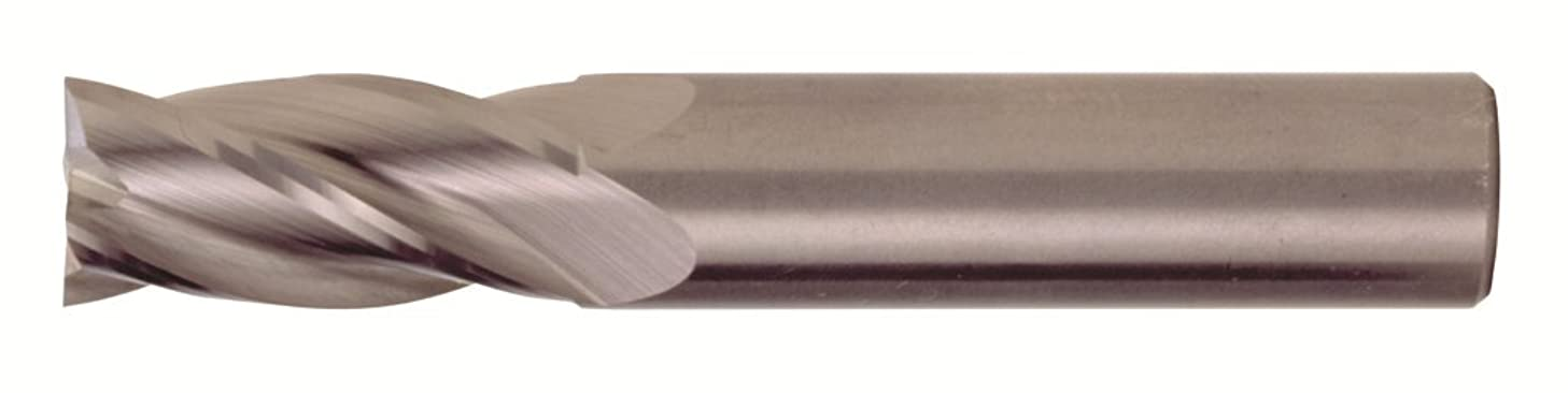 Bassett MSE-4 Series Solid Carbide General Purpose End Mill, TiAlN Coated, 4 Flute, 30 Degrees Helix, Radius Corner End, 1