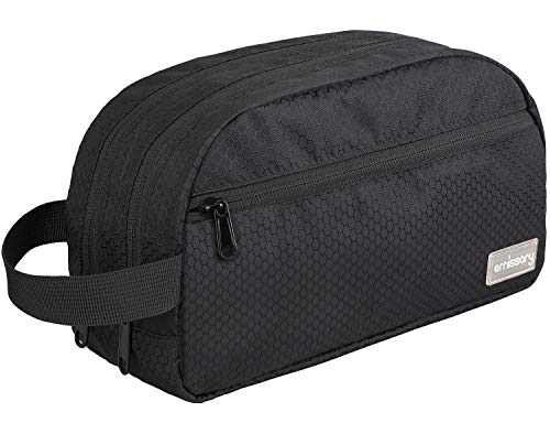 emissary Nylon Men's Toiletry Bag - Large Waterproof Shower Bag - Travel Toiletries Bag - Dopp Kitt for Men - Toiletry Bag for Men and Women - Shaving Bag for Men Travel (Black Water-Resistant)
