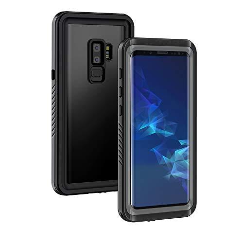 Lanhiem Hülle kompatibel mit Samsung Galaxy S9 Plus, IP68 Wasserdicht Handyhülle 360 Grad Schutzhülle, Stoßfest Outdoor Panzerhülle mit Eingebautem Displayschutz, Schwarz+Grau