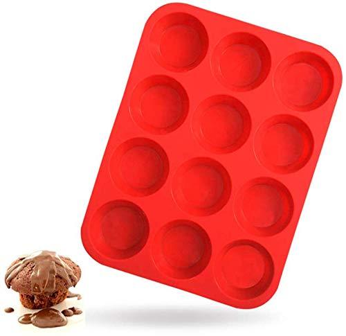 Walfos Silikon-Muffinform - 12 Tassen Normale Silikon-Cupcake-Pfanne, Antihaft-Silikon Ideal für die Herstellung von Muffin-Kuchen, Torten, Brot - BPA-frei und spülmaschinenfest