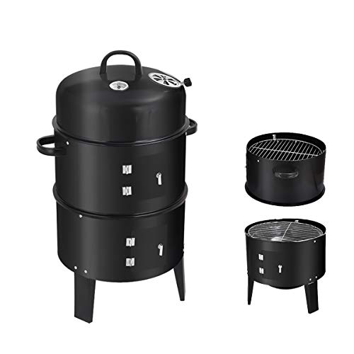 Kerrogee Vertical Enamel Charcoal Smoker, Detachable 3 Layer multi-function BBQ Grill, Perfect Choice for both outdoor and indoor cooking, Unique Smoky Flavor Maker