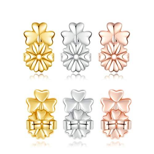 YAVIS Magic Ohrring-Verschlüsse, Ohrring-Halterung, verstellbar, hypoallergen, für Stütze von Ohrlöchern, Ohrlöchern, Ohrlöchern, 3 Paar 925er Sterlingsilber