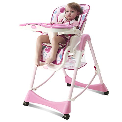 Check Out This ShurndGao High Chair Adjustable Height Baby Folding High Chair 3 Reclining Portable F...