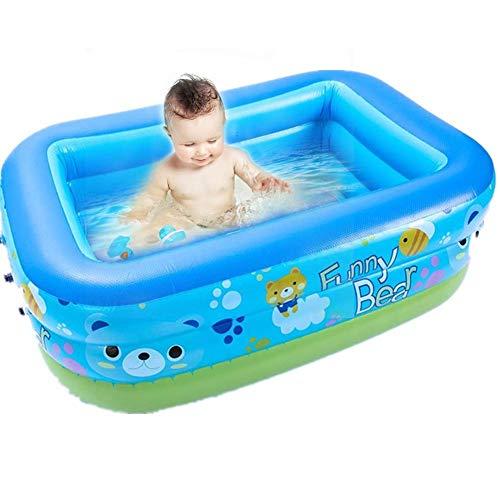 chlius Piscina inflable para niños, 120 x 90 x 36 cm, rectangular gruesa piscina inflable para bebés, piscina para niños, centro de natación familiar para adultos al aire libre divertirse
