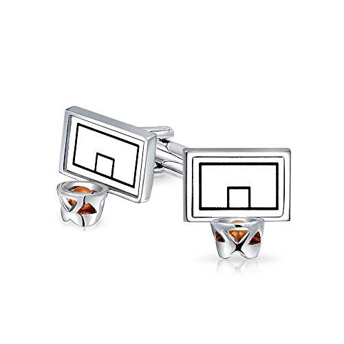 Bling Jewelry Aro del Tablero Baloncesto Entrenador Deportivo Geme Hombre Camiseta Cuff Links Volver con Bisagras Acero Plata Esmalte